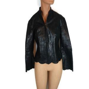 Vintage Boho Leather Jacket By Lucien Piccard